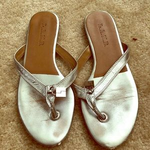 L.A.M.B. Silver flip flops/sandals